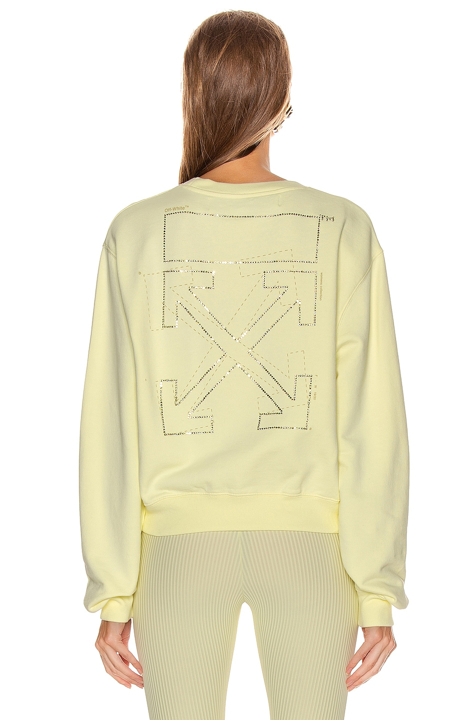 Image 4 of OFF-WHITE Shifted Crop Crewneck Sweatshirt in Yellow