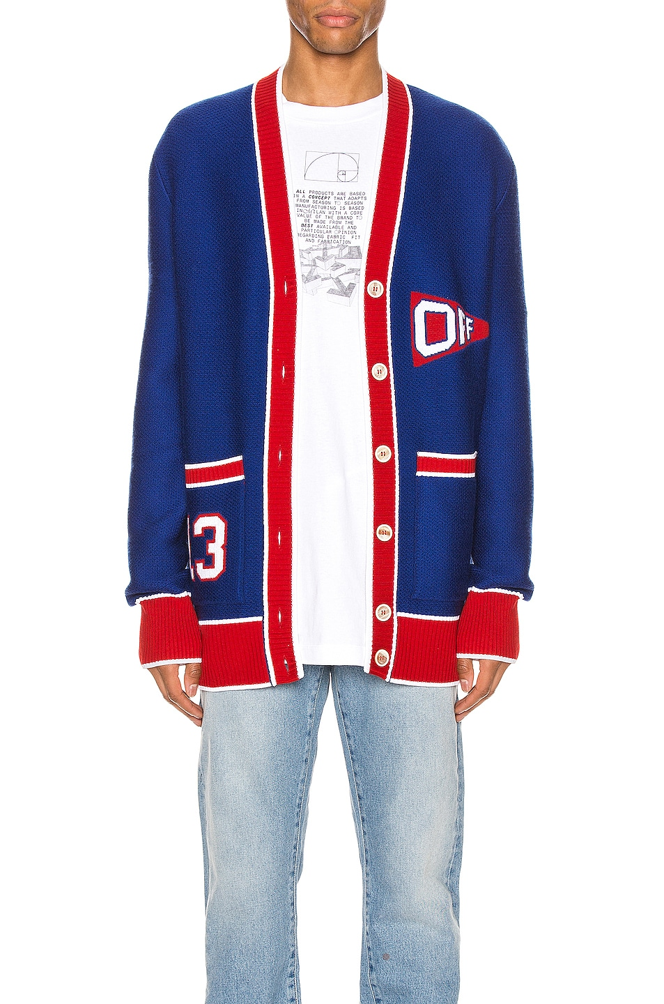 Image 1 of OFF-WHITE Flag Cardigan in Blue & Red