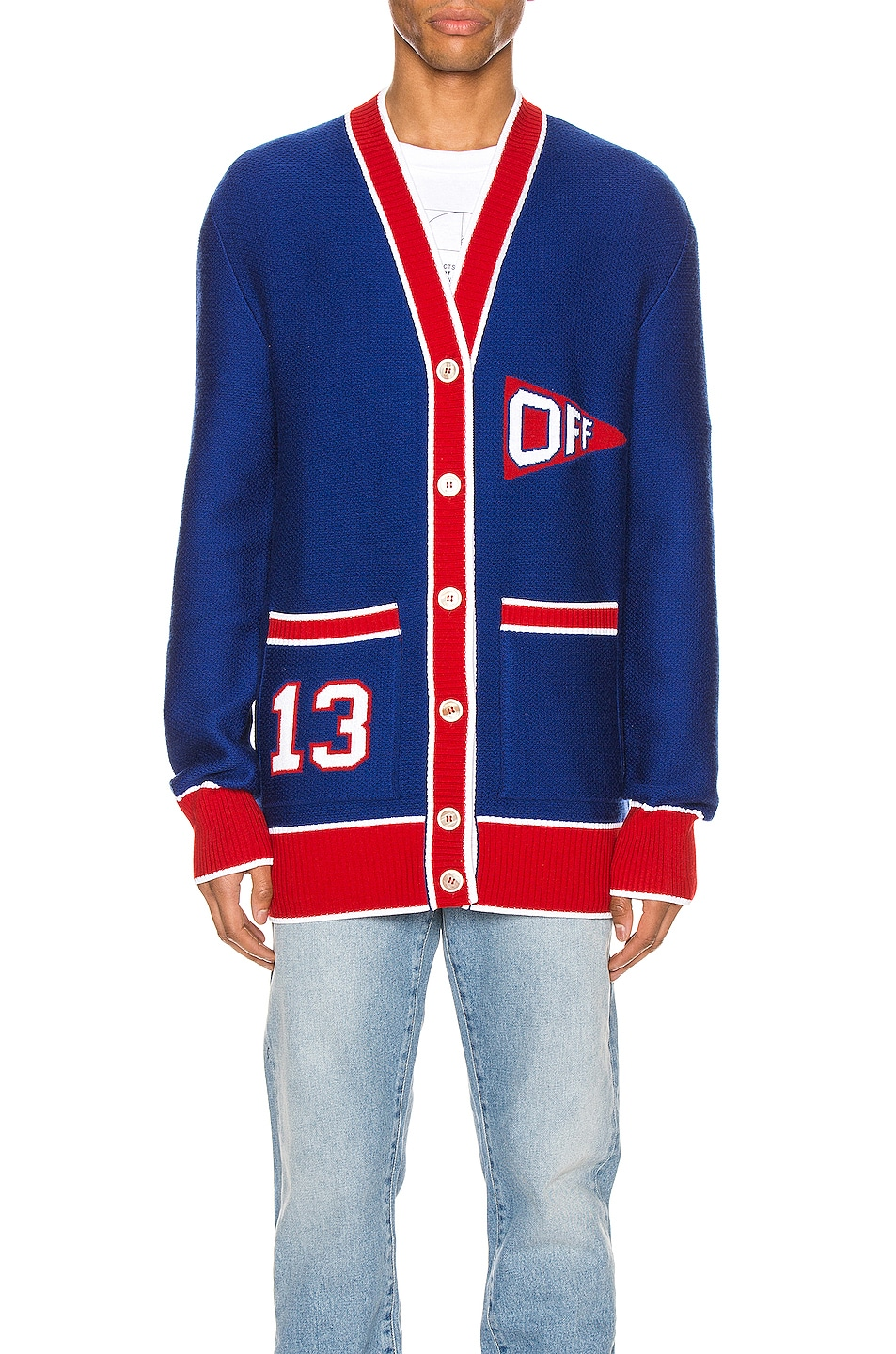 Image 2 of OFF-WHITE Flag Cardigan in Blue & Red