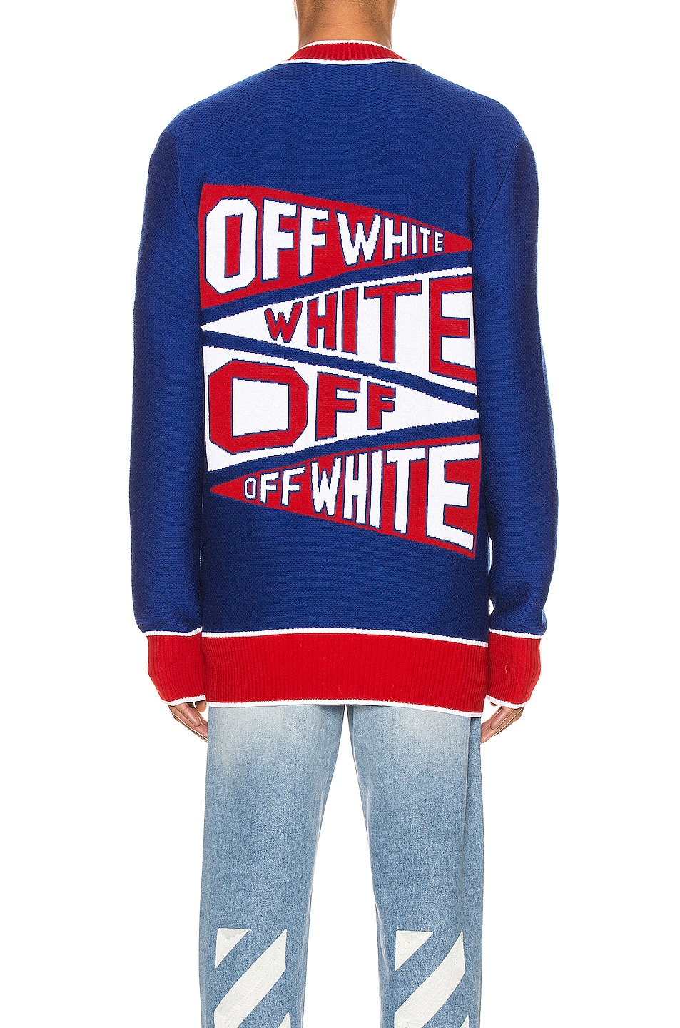 Image 4 of OFF-WHITE Flag Cardigan in Blue & Red