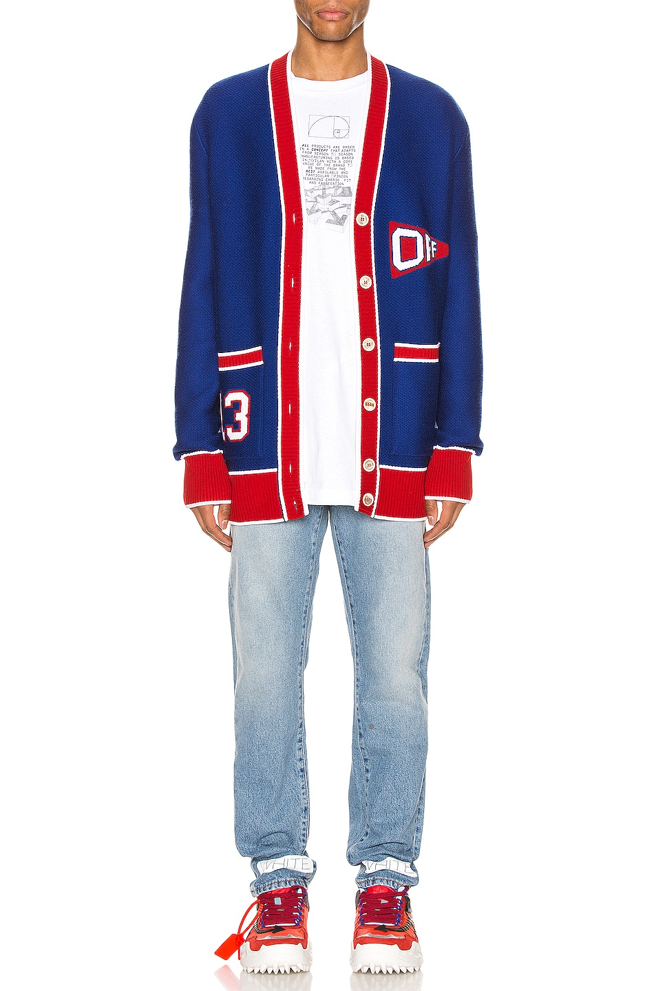 Image 5 of OFF-WHITE Flag Cardigan in Blue & Red