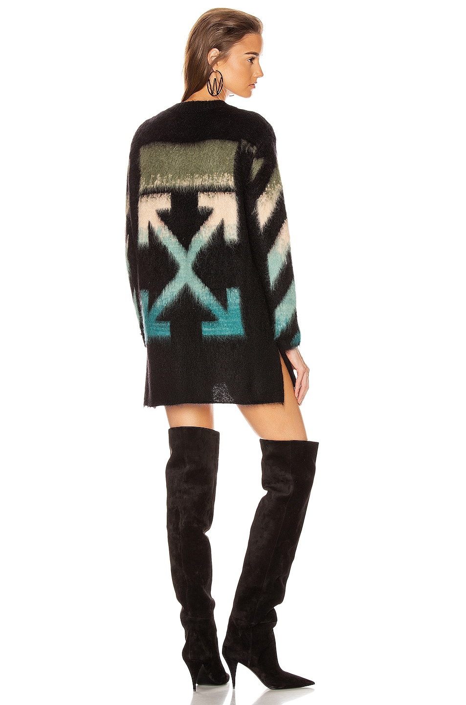 Image 1 of OFF-WHITE Intarsia Mohair Crewneck Sweater in Black Petrol