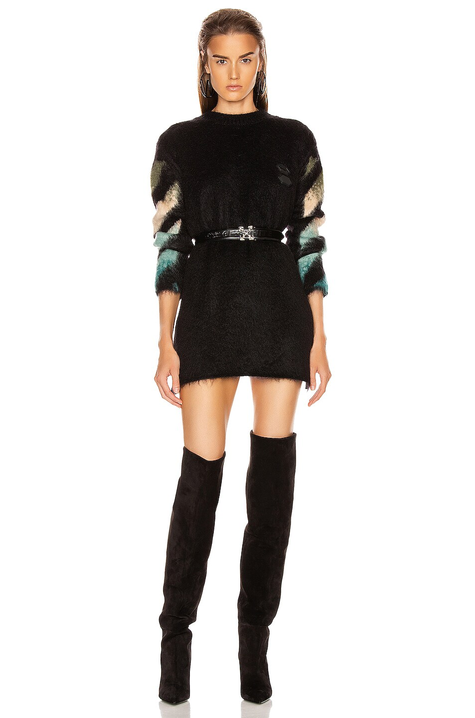 Image 2 of OFF-WHITE Intarsia Mohair Crewneck Sweater in Black Petrol