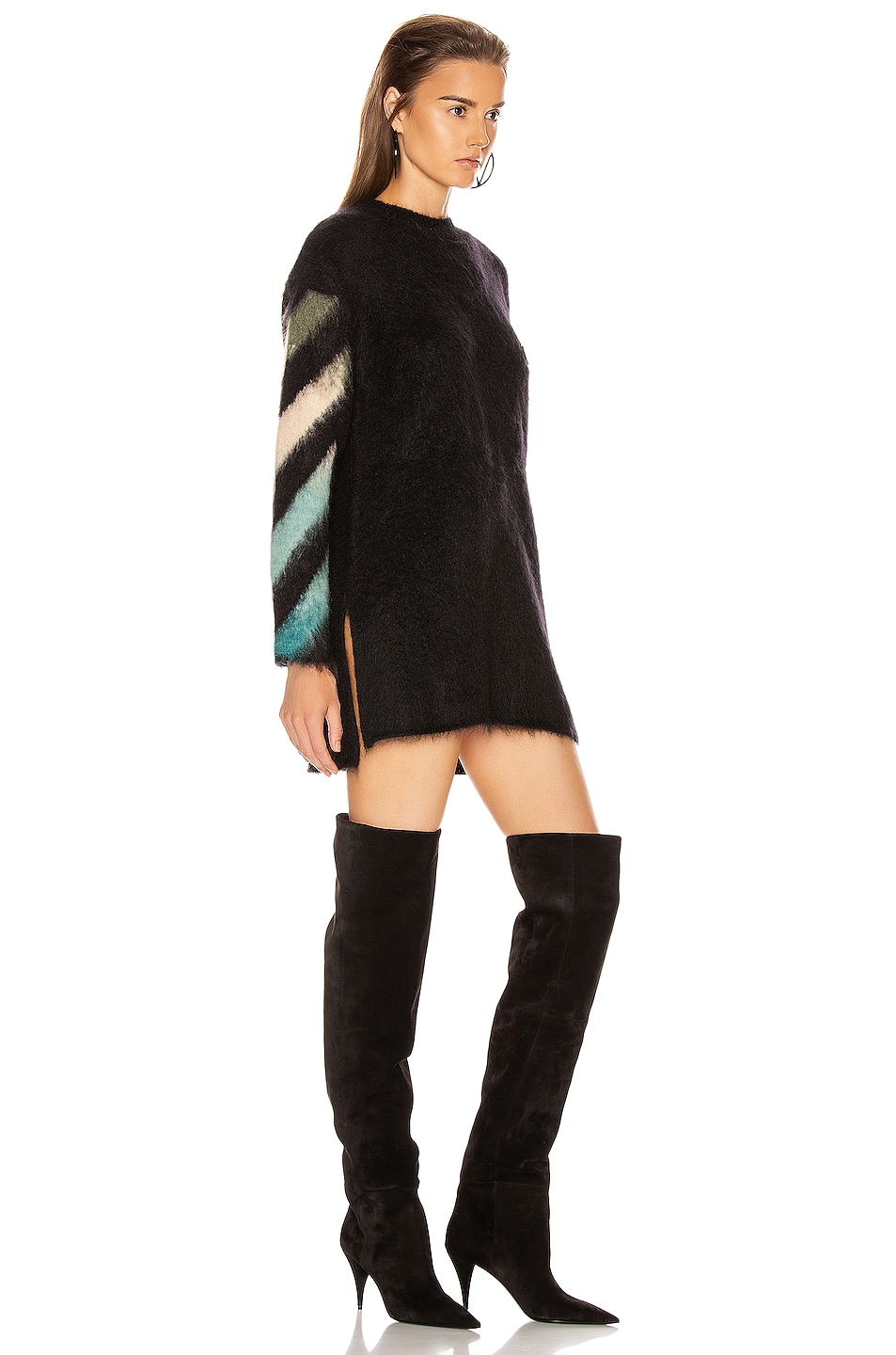 Image 3 of OFF-WHITE Intarsia Mohair Crewneck Sweater in Black Petrol