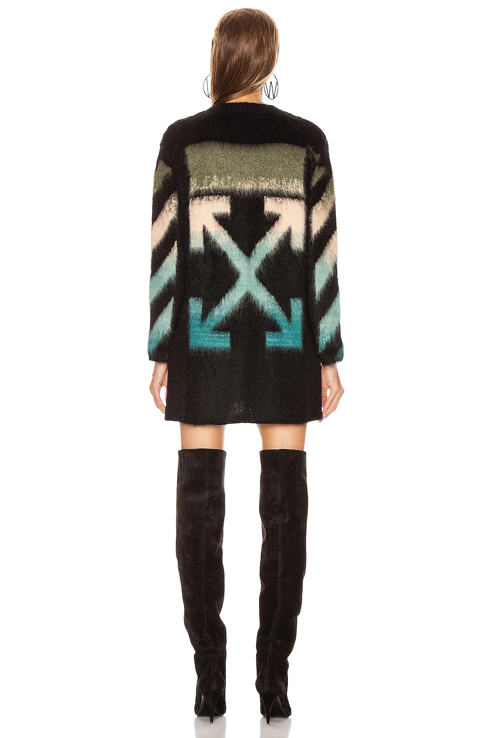 Image 4 of OFF-WHITE Intarsia Mohair Crewneck Sweater in Black Petrol
