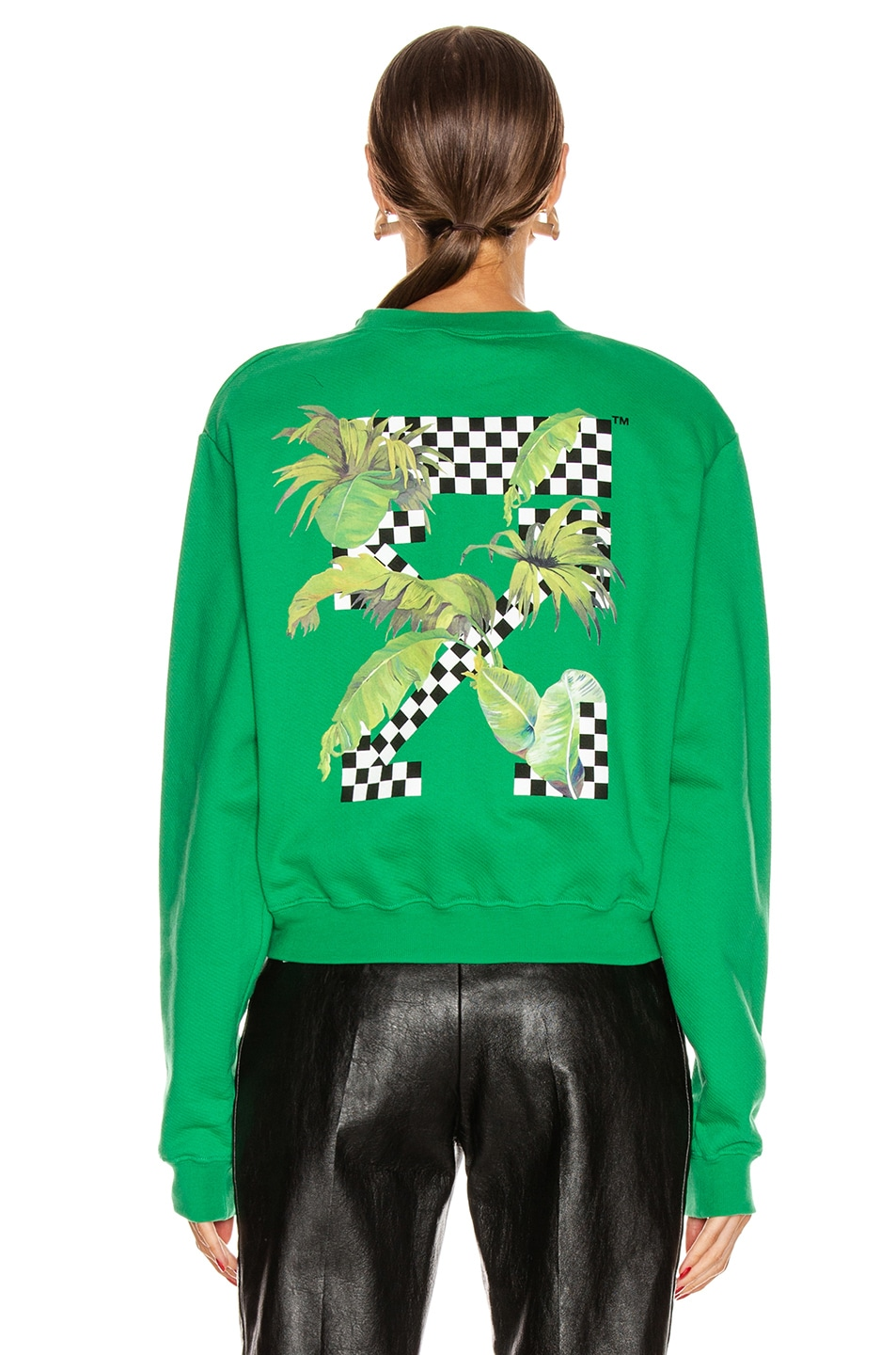 Image 4 of OFF-WHITE Racing Crewneck Sweater in Green & Black