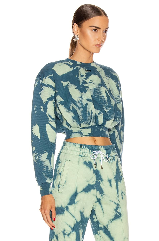 Image 2 of OFF-WHITE Tie Dye Extra Crop Sweatshirt in Gasoline
