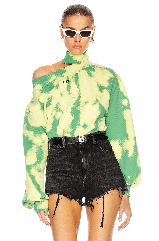 Image 1 of OFF-WHITE Tie Dye Trashed Sweatshirt in Light Green