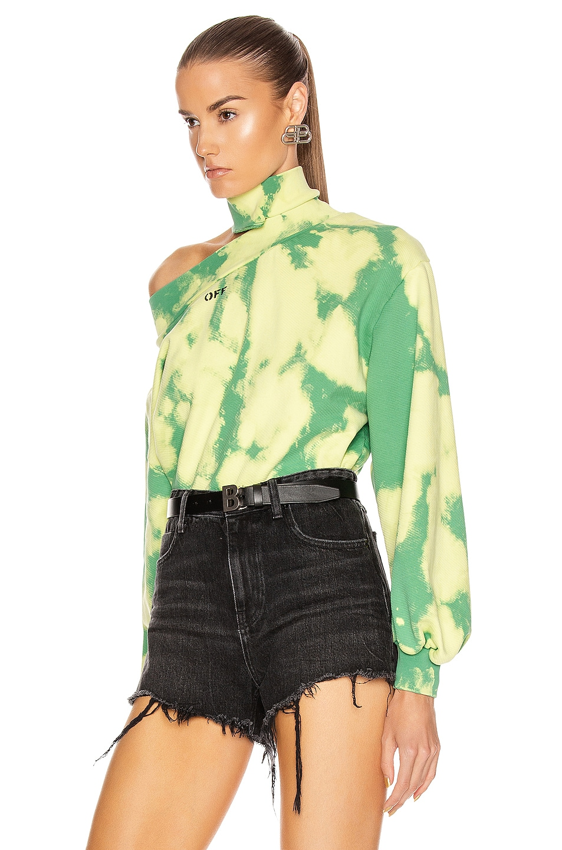 Image 3 of OFF-WHITE Tie Dye Trashed Sweatshirt in Light Green