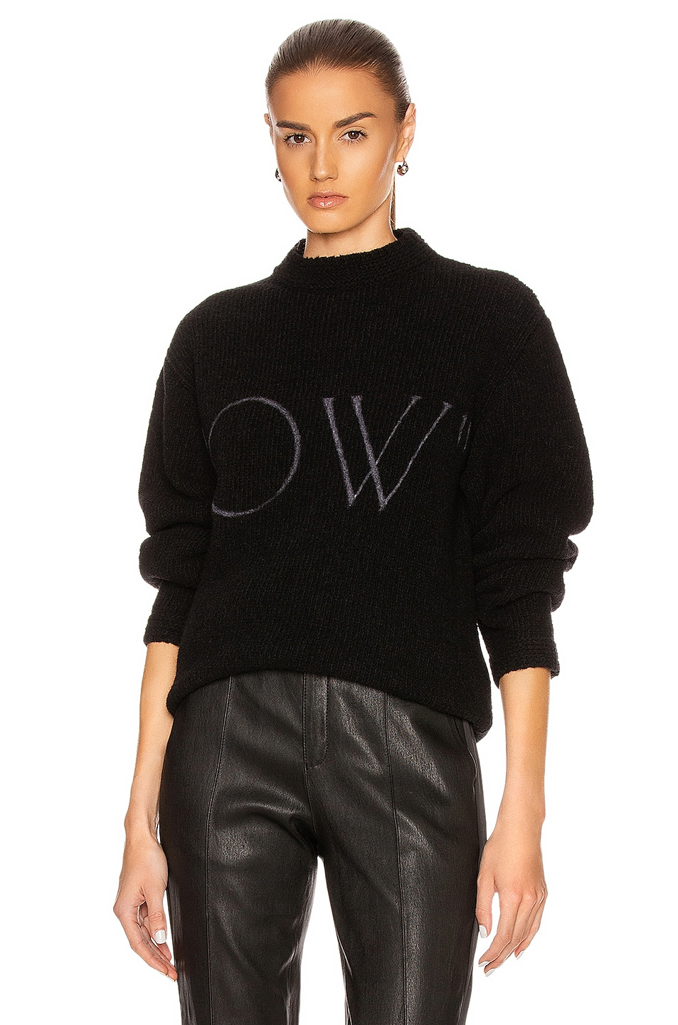 Image 1 of OFF-WHITE OW Knit Oversize Sweater in Black & White