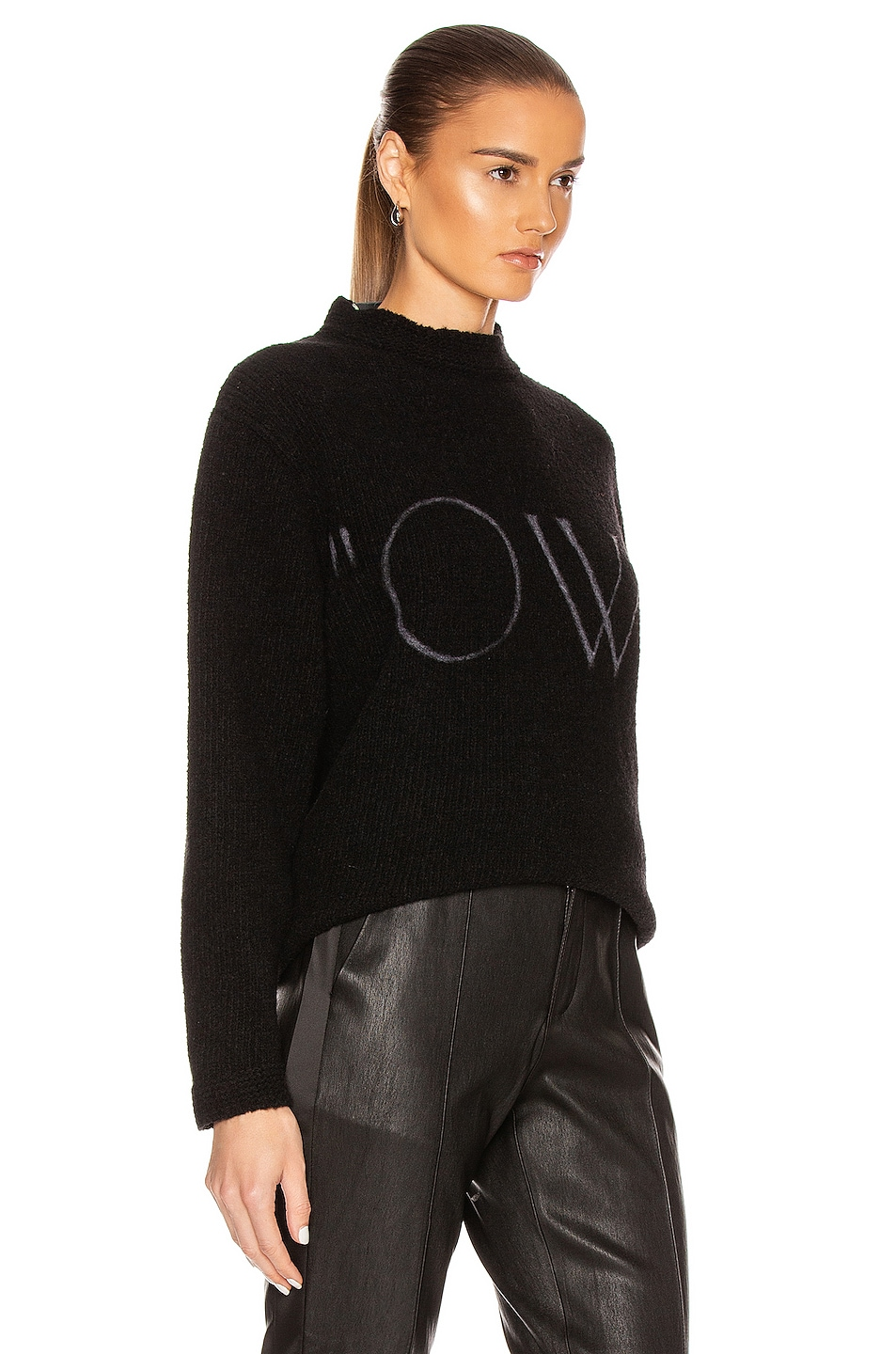 Image 2 of OFF-WHITE OW Knit Oversize Sweater in Black & White