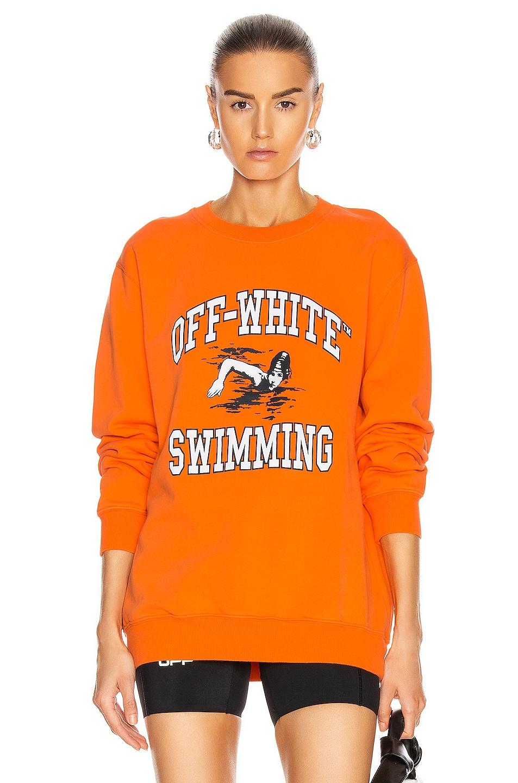 Image 1 of OFF-WHITE Swimming Crewneck Sweatershirt in Orange