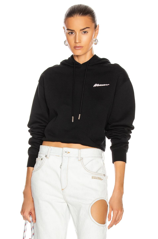 Image 1 of OFF-WHITE Crop Hoodie in Black