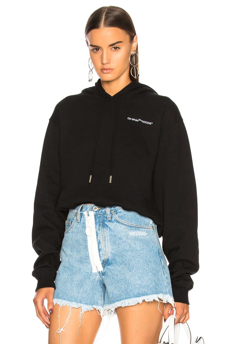 4195961c56ae Image 1 of OFF-WHITE Quotes Cropped Hoodie in Black   White