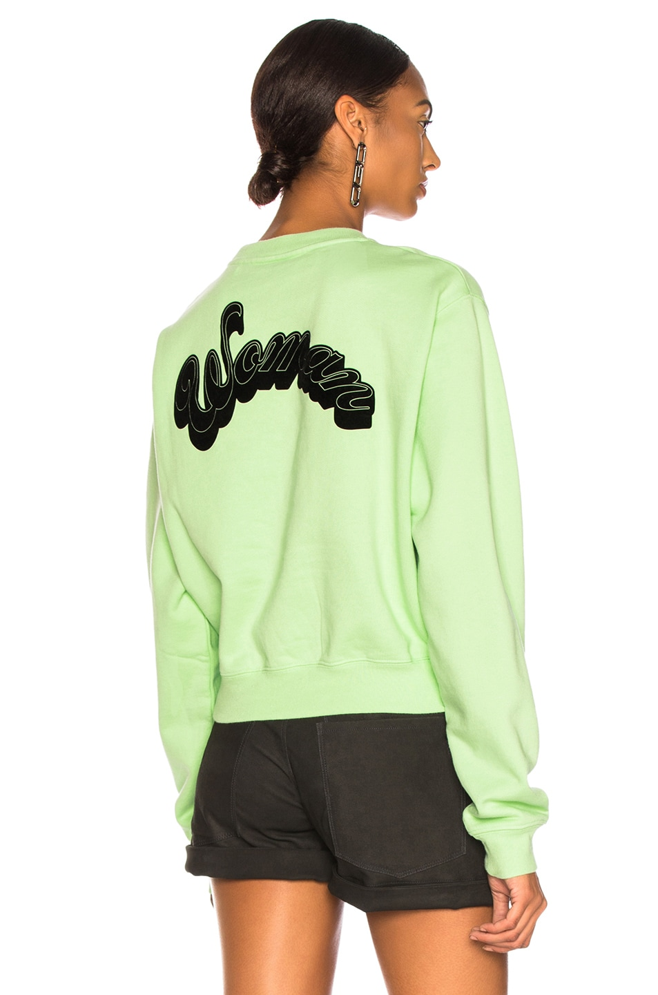 Image 1 of OFF-WHITE Run 4 The Roses Crop Sweatshirt in Light Green