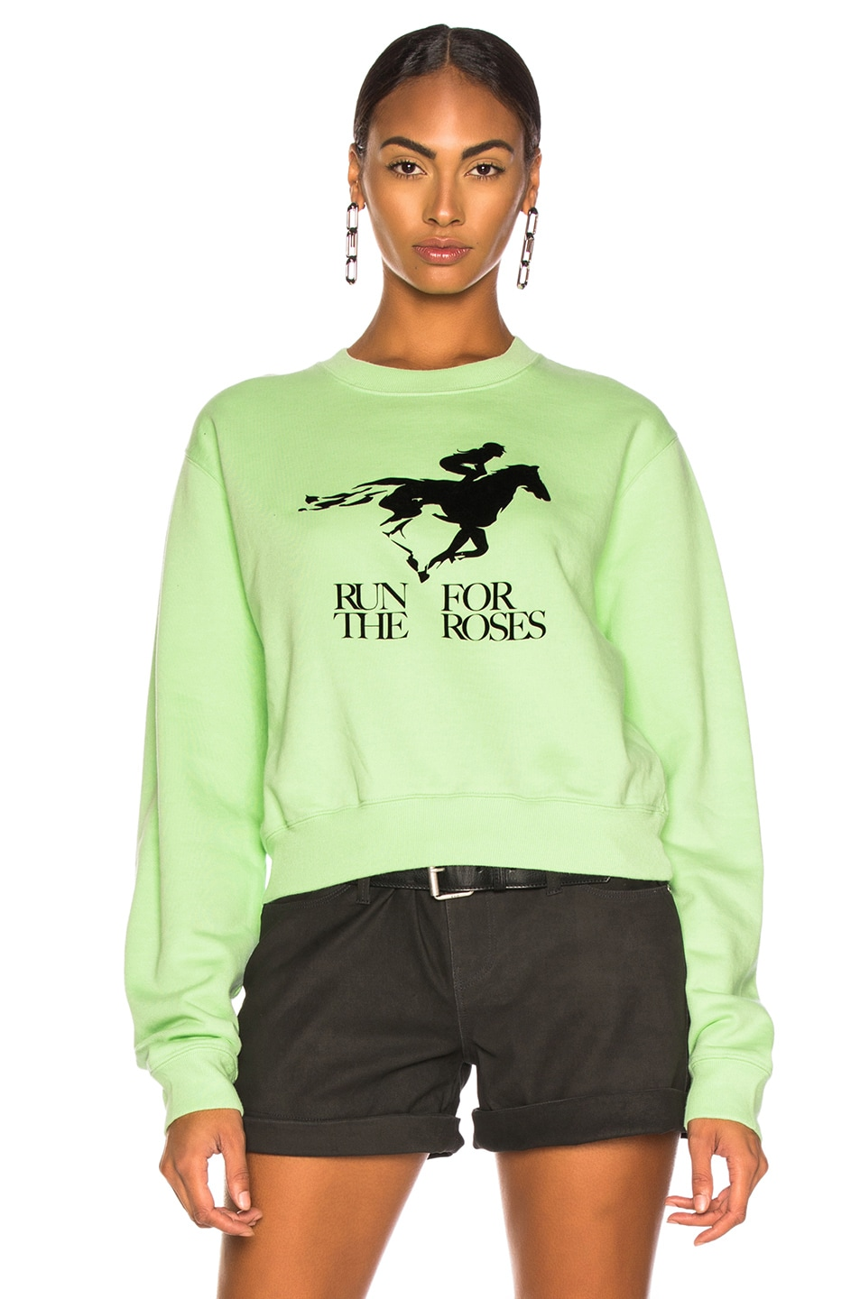 Image 2 of OFF-WHITE Run 4 The Roses Crop Sweatshirt in Light Green