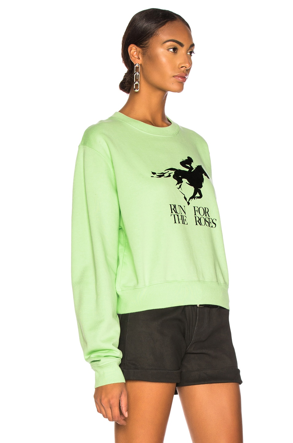 Image 3 of OFF-WHITE Run 4 The Roses Crop Sweatshirt in Light Green