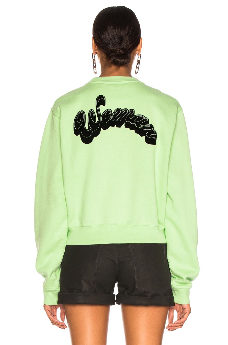 Image 4 of OFF-WHITE Run 4 The Roses Crop Sweatshirt in Light Green