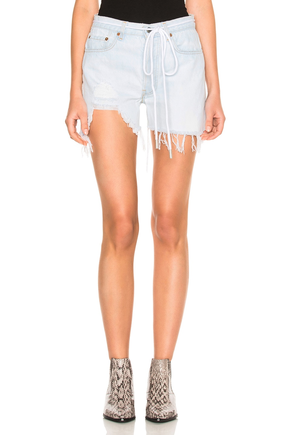 Image 1 of OFF-WHITE Real Ripped Denim Shorts in Bleach