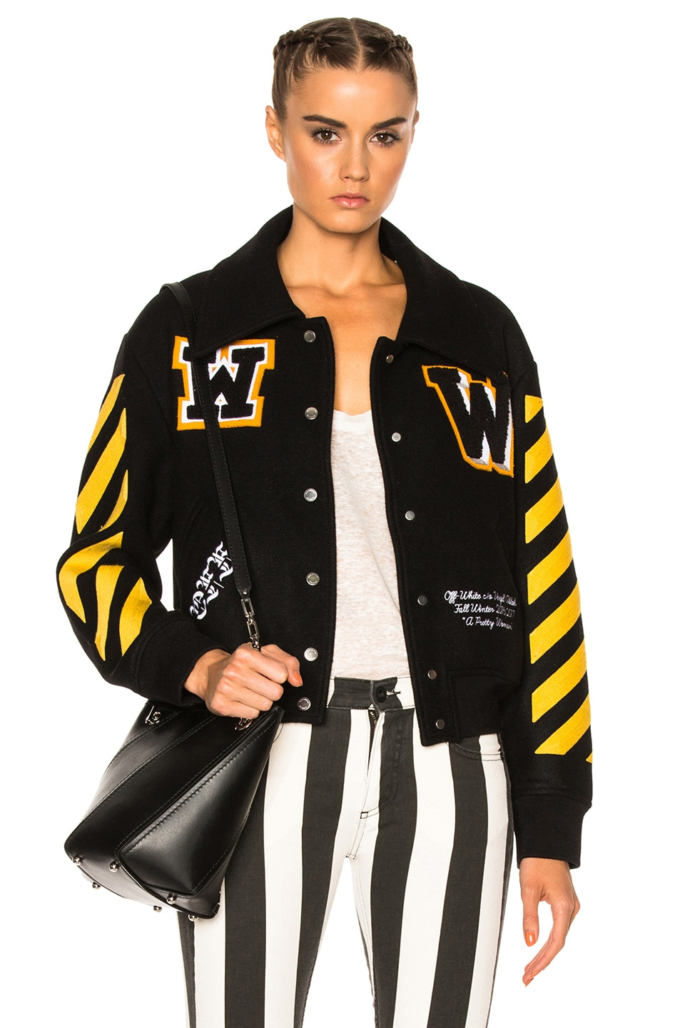 Image 1 of OFF-WHITE Varsity Bomber Jacket with Patches in Black & Yellow