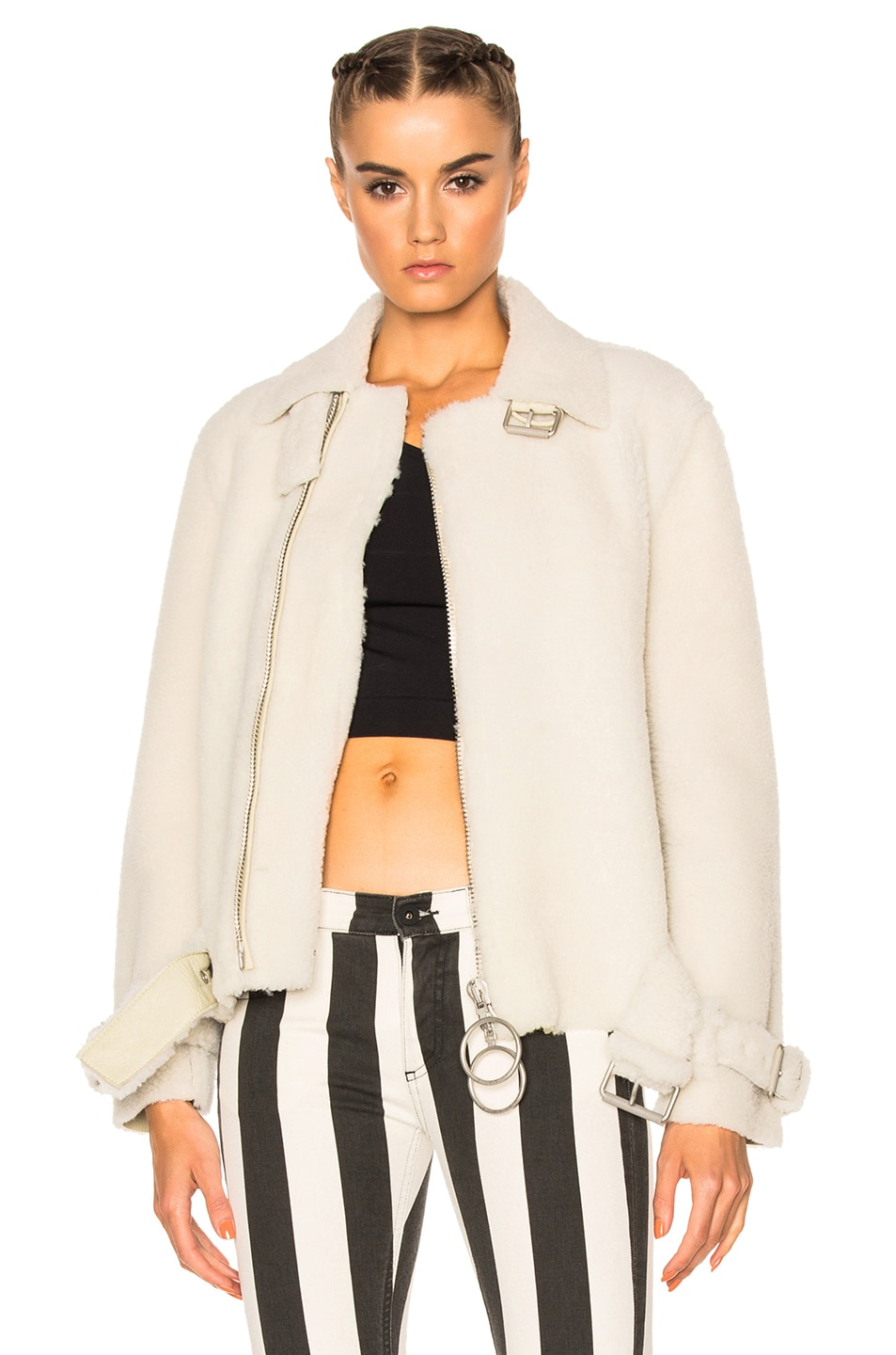 Image 1 of OFF-WHITE Shearling Fur Jacket in Off White
