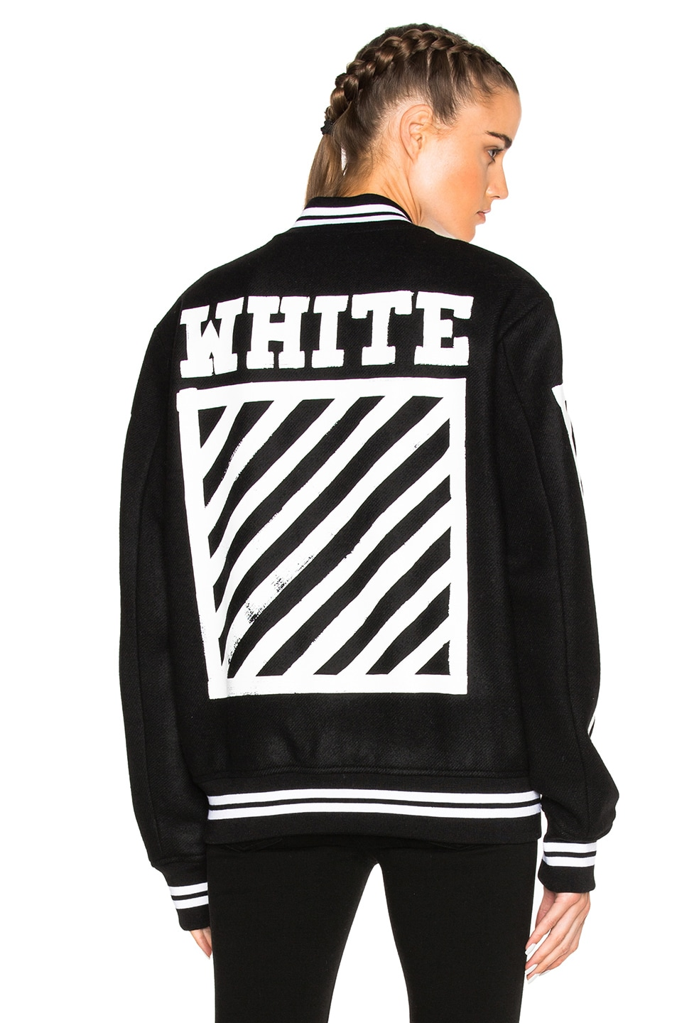 44942b326e67 Image 1 of OFF-WHITE Brushed Diagonals Varsity Bomber Jacket in Black    White