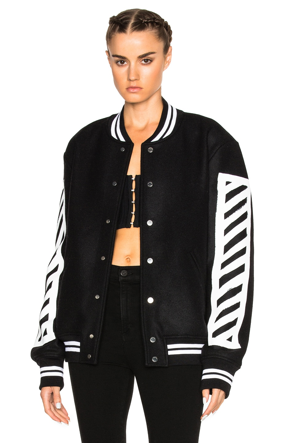 6503949583bd Image 2 of OFF-WHITE Brushed Diagonals Varsity Bomber Jacket in Black    White