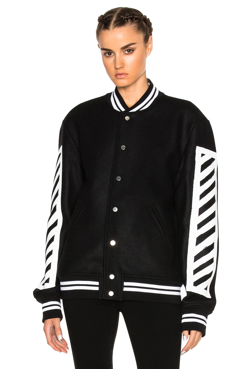 14057da4b6ff Image 3 of OFF-WHITE Brushed Diagonals Varsity Bomber Jacket in Black    White