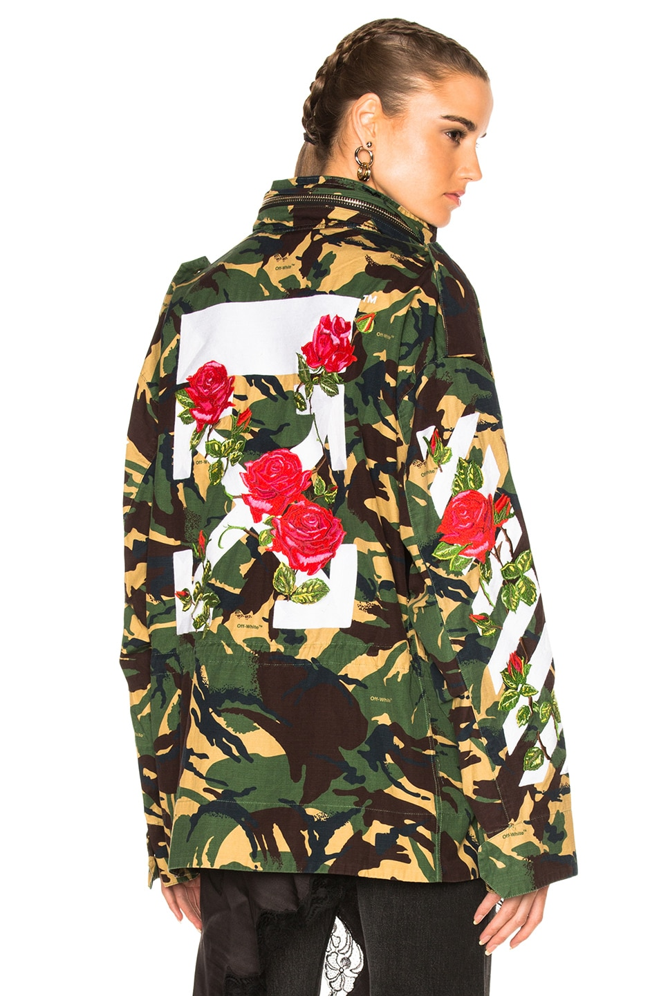 1f05280954c4d Image 1 of OFF-WHITE Diagonal Roses M65 Jacket in Green Camouflage