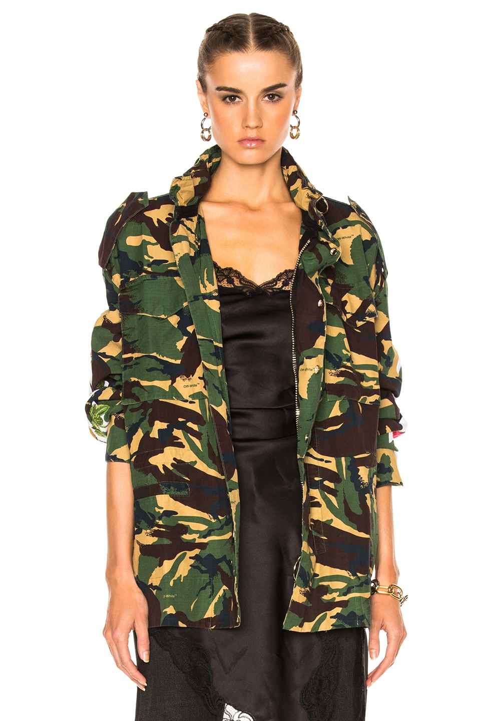 616da48c6f803 Image 2 of OFF-WHITE Diagonal Roses M65 Jacket in Green Camouflage