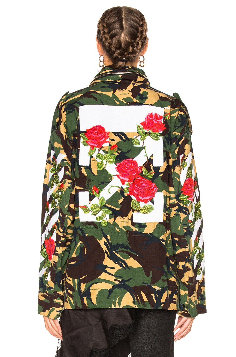 854ff8bd52fab Image 7 of OFF-WHITE Diagonal Roses M65 Jacket in Green Camouflage