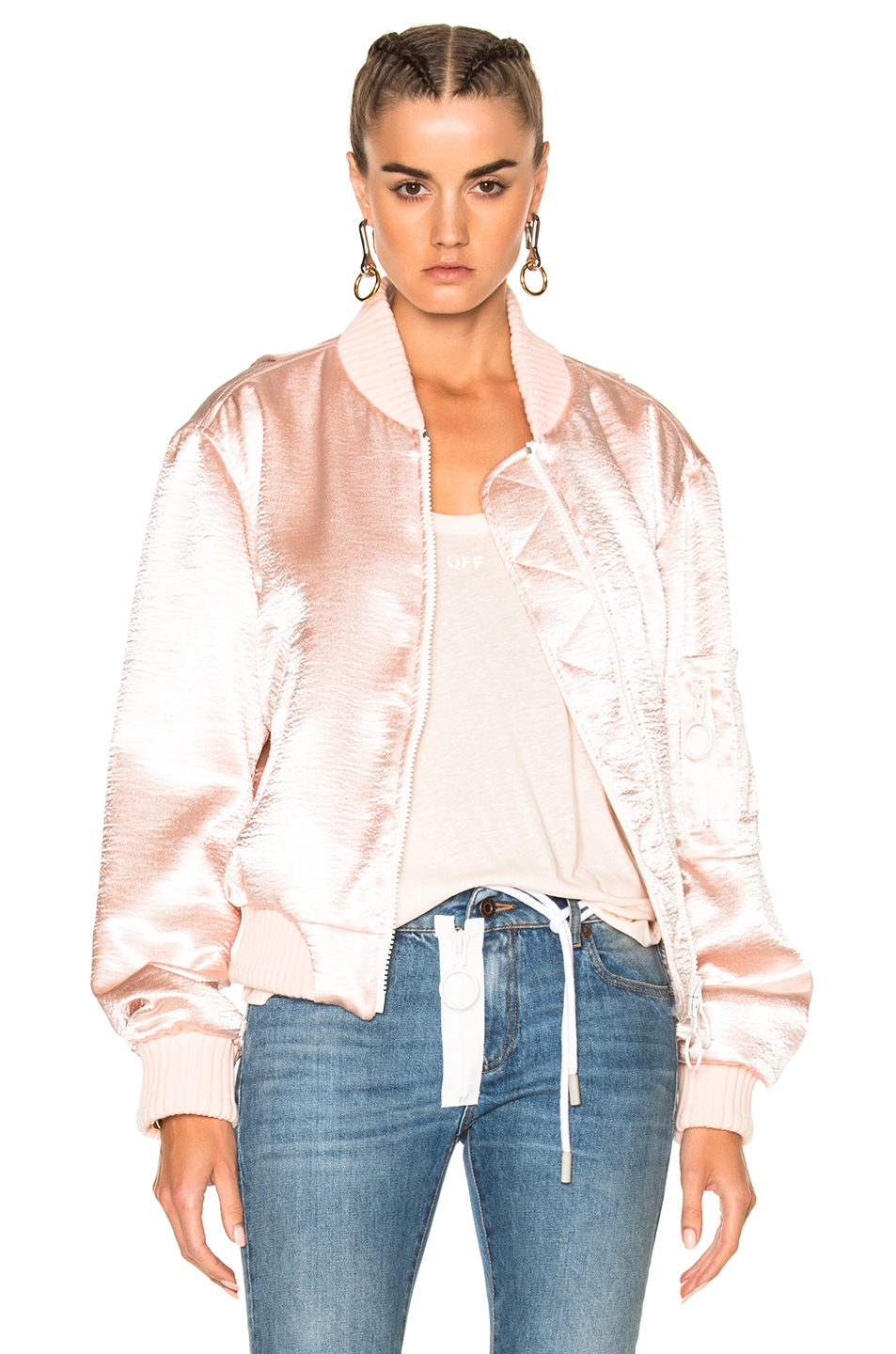 Image 1 of OFF-WHITE for FWRD Shiny Bomber Jacket in Nude