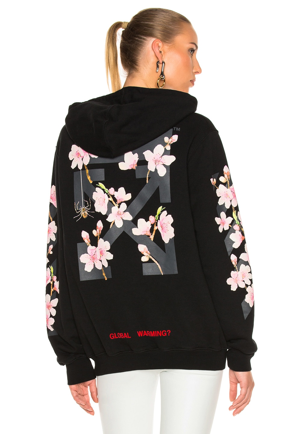 Image 1 of OFF-WHITE Cherry Blossom Diagonal Hoodie in Black Multi