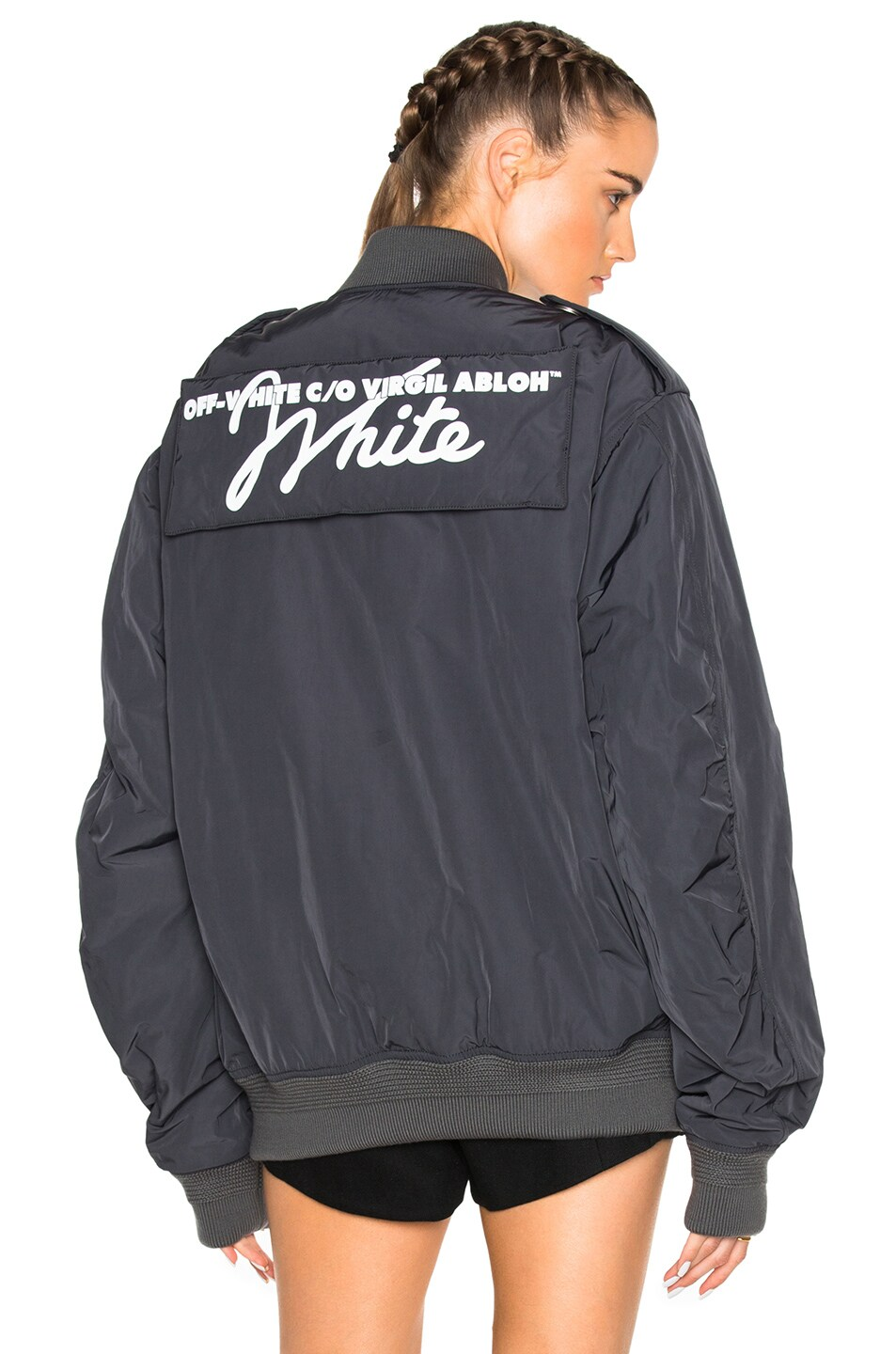 Image 1 of OFF-WHITE Nylon Bomber Jacket in Anthracite