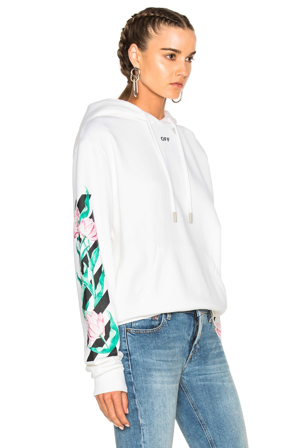 46483cd9937f Image 3 of OFF-WHITE Tulip Diagonal Hoodie in White Multicolor
