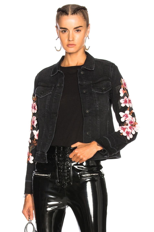 Image 1 of OFF-WHITE Cherry Blossom Diagonal Denim Jacket in Vintage Black