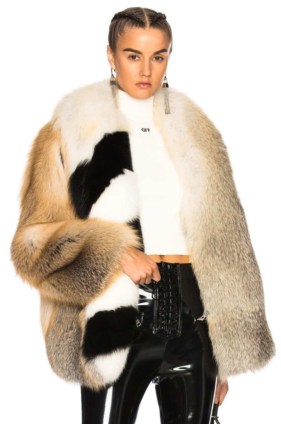 298710dc8e676 Image 1 of OFF-WHITE Fox Fur Coat with Stole in Beige