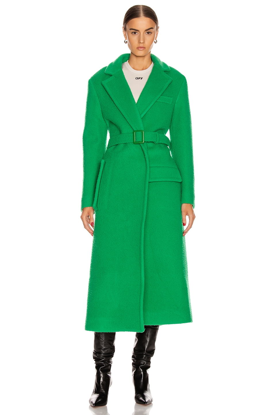 Image 2 of OFF-WHITE Curly Two Layer Belt Coat in Green