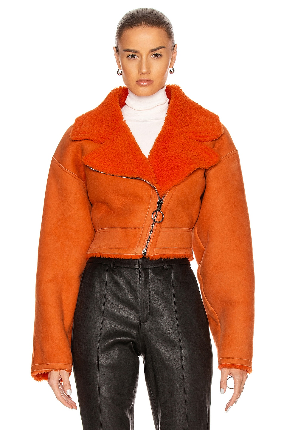 Image 2 of OFF-WHITE Shearling Jacket in Orange