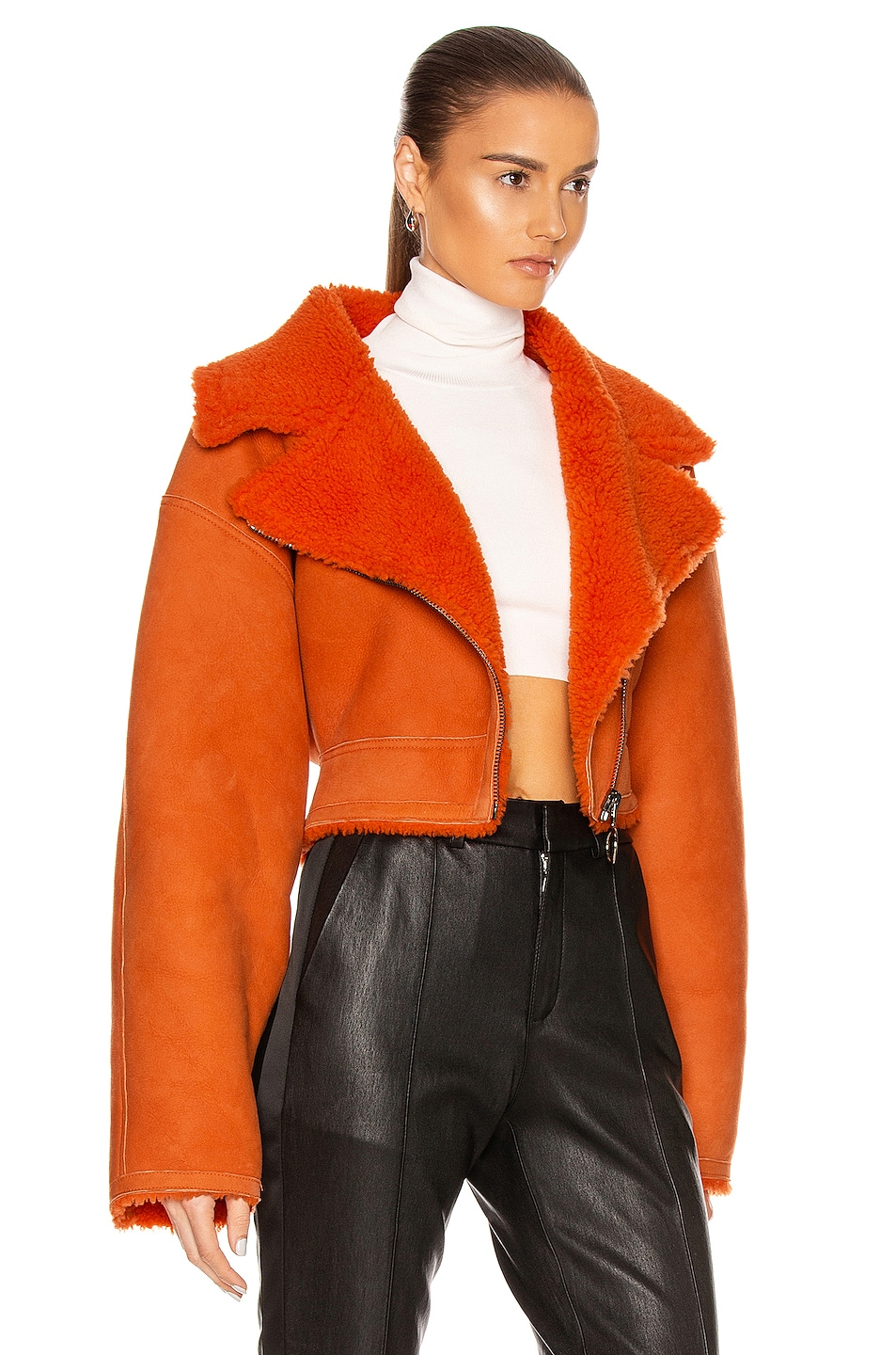 Image 3 of OFF-WHITE Shearling Jacket in Orange