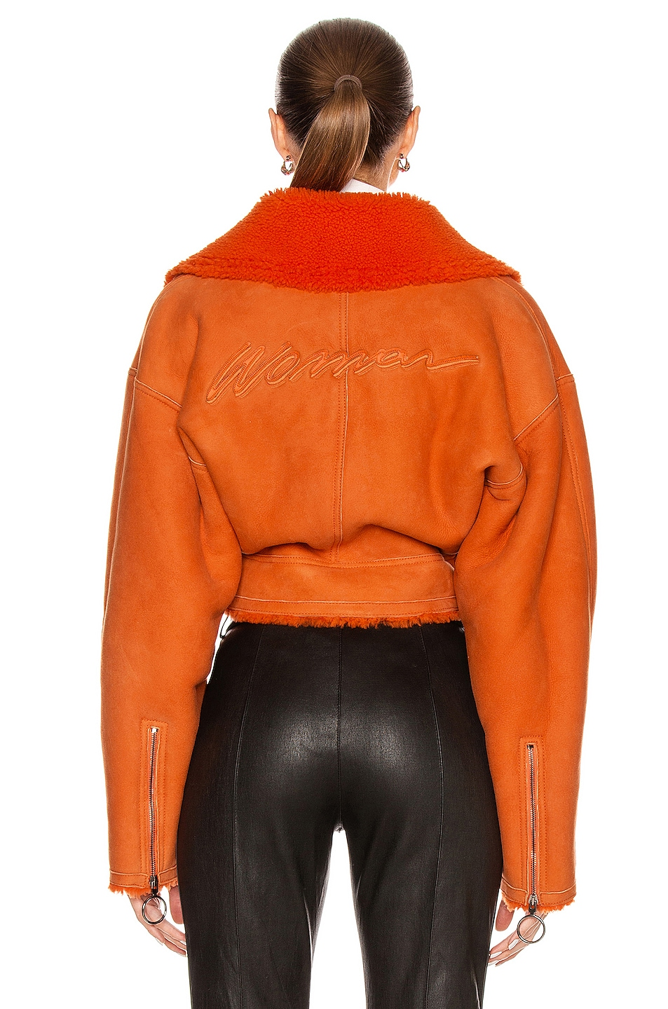 Image 4 of OFF-WHITE Shearling Jacket in Orange