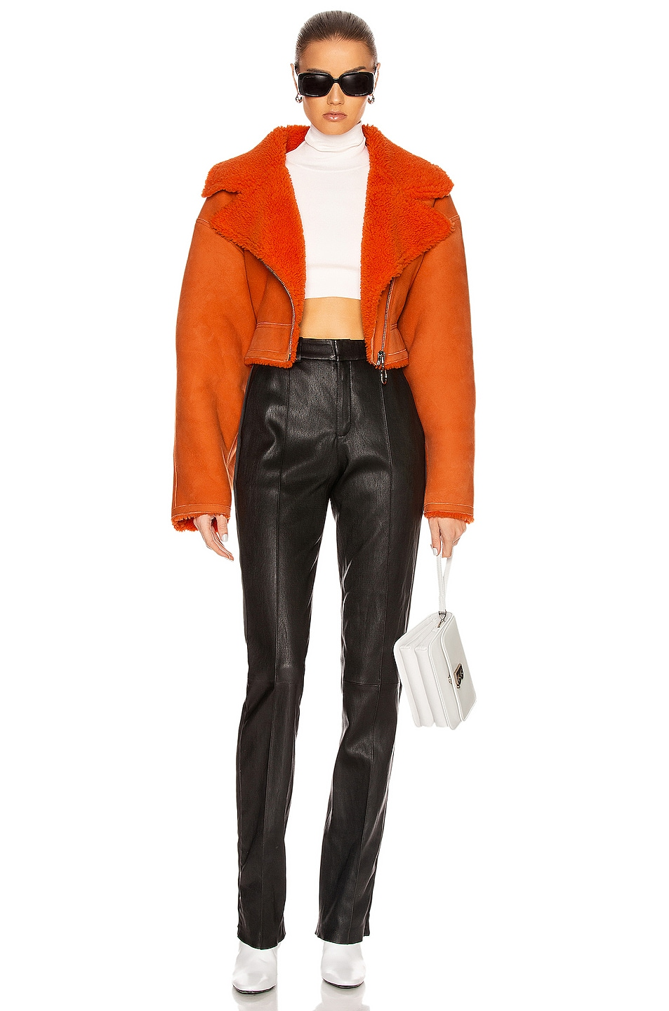 Image 5 of OFF-WHITE Shearling Jacket in Orange