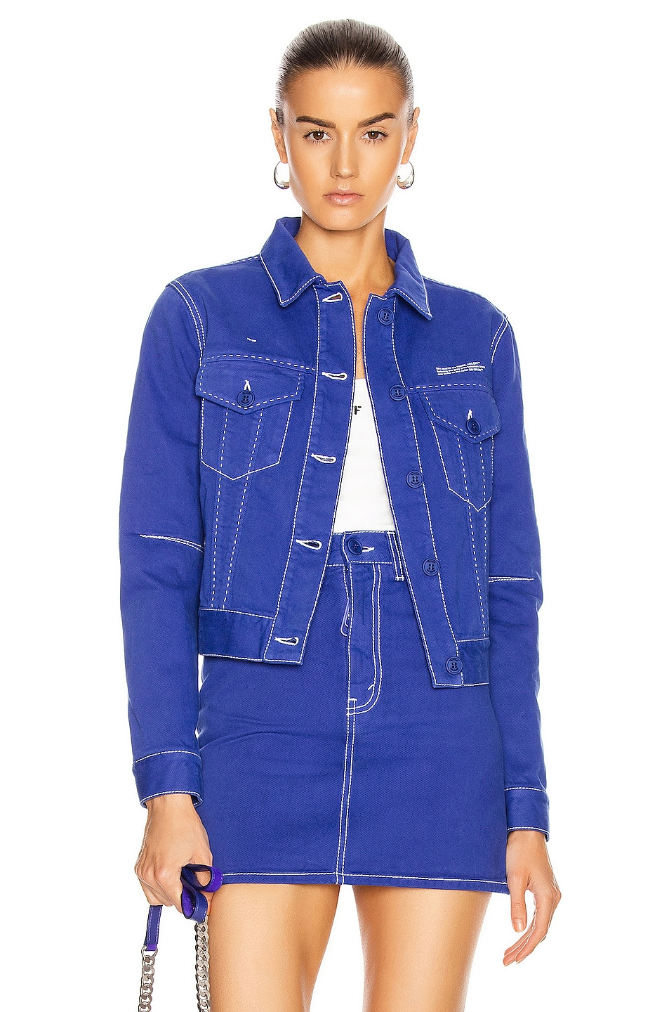 Image 1 of OFF-WHITE Long Denim Jacket in Blue