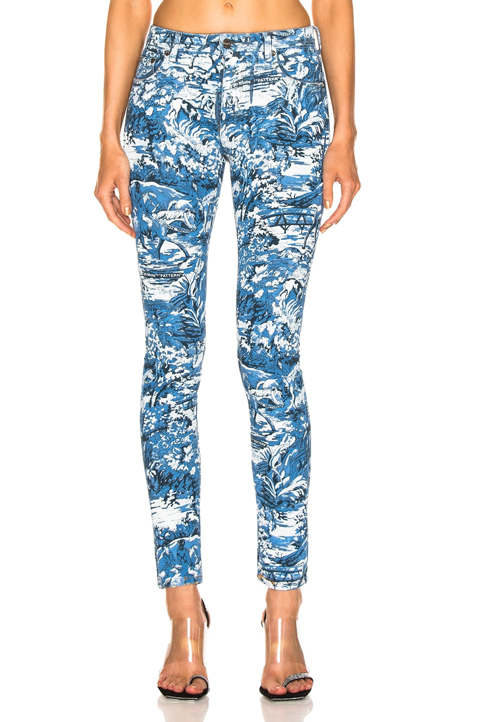 Image 1 of OFF-WHITE Tapestry 5 Pocket Pants in Blue Wash