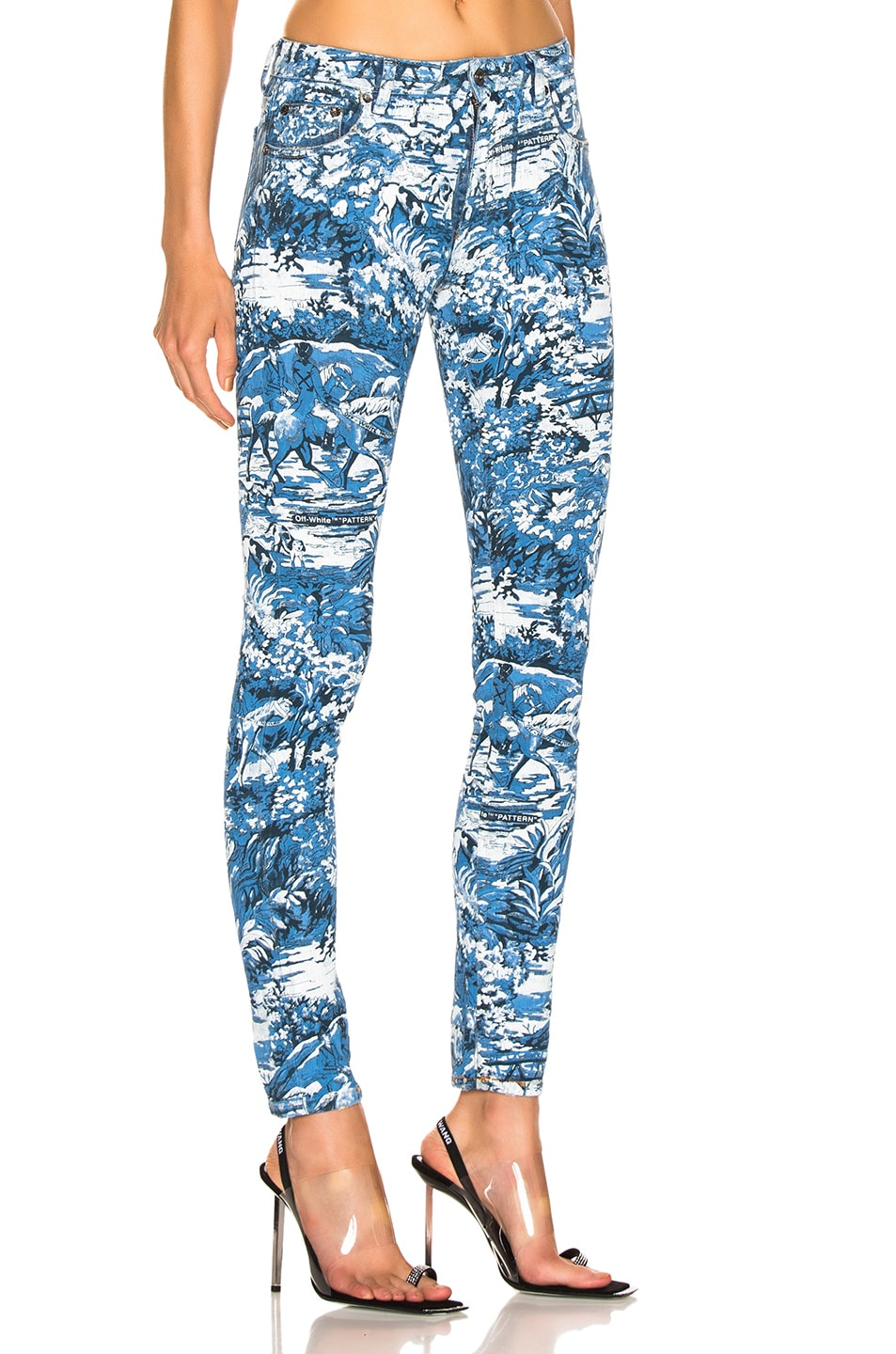 Image 2 of OFF-WHITE Tapestry 5 Pocket Pants in Blue Wash
