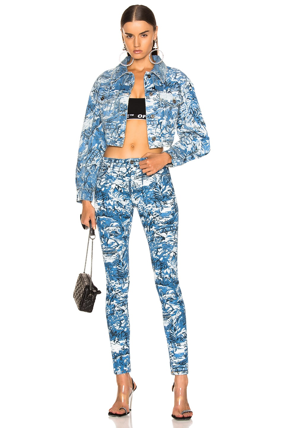 Image 4 of OFF-WHITE Tapestry 5 Pocket Pants in Blue Wash