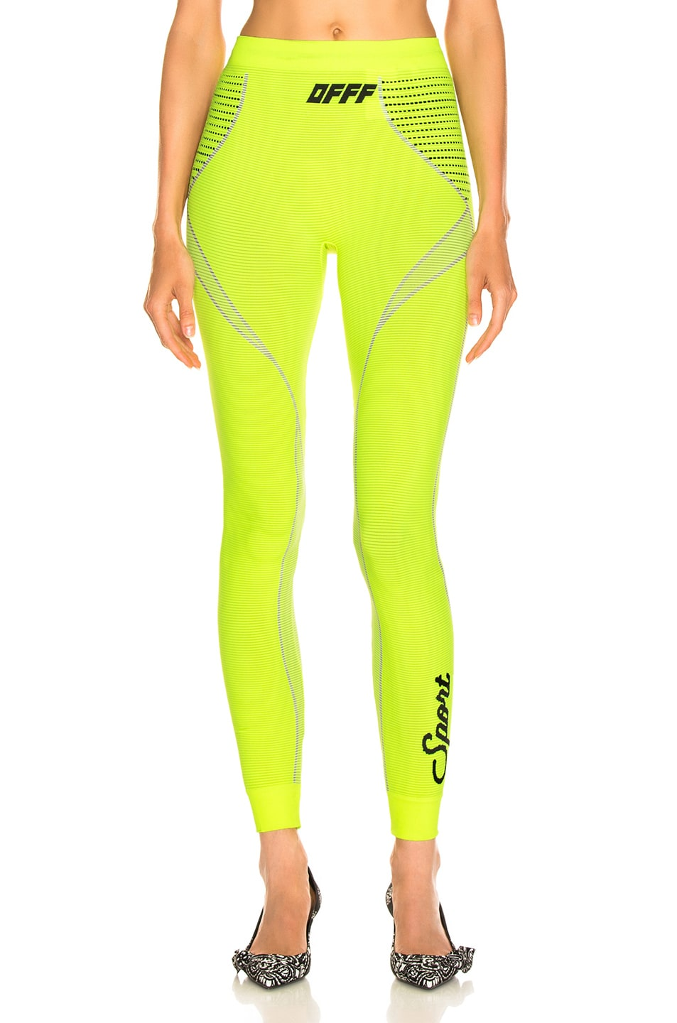 Image 1 of OFF-WHITE Athletic Legging in Fluo Yellow
