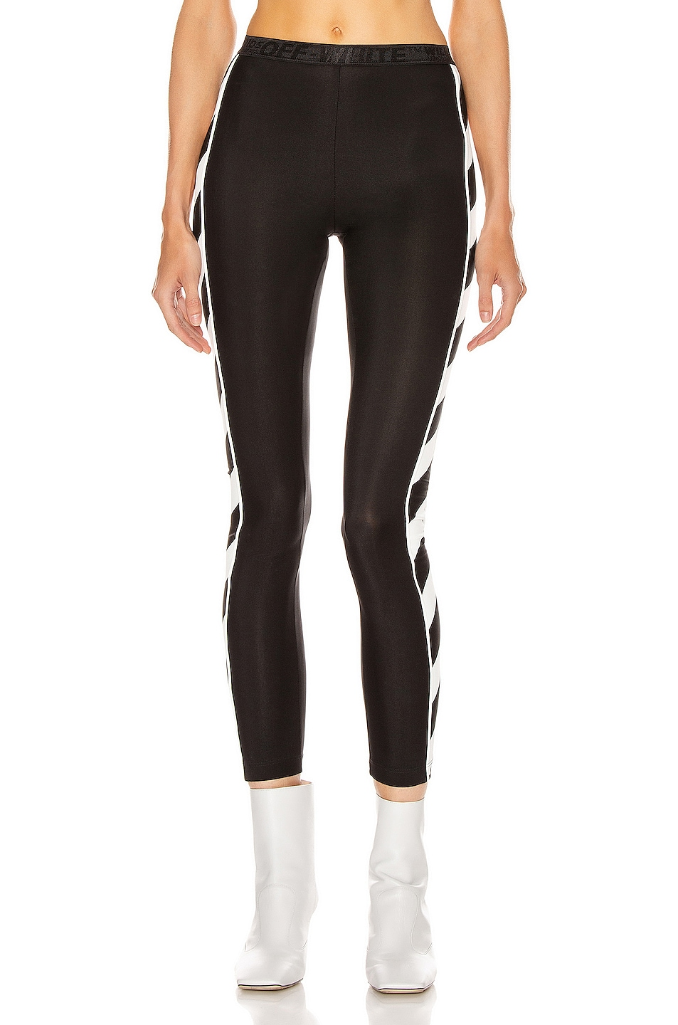 Image 2 of OFF-WHITE Diagonal Athletic Legging in Black & White