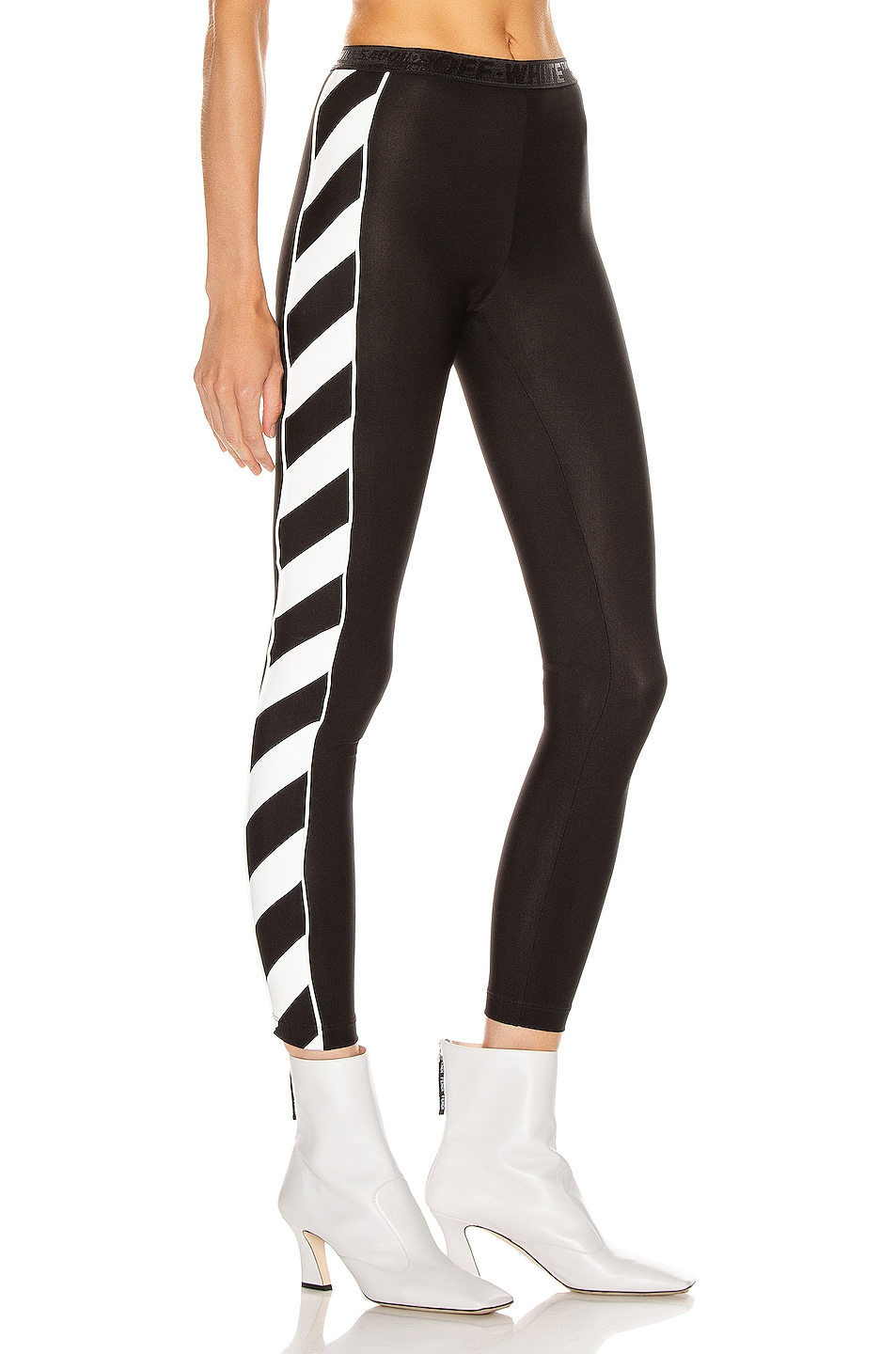 Image 3 of OFF-WHITE Diagonal Athletic Legging in Black & White