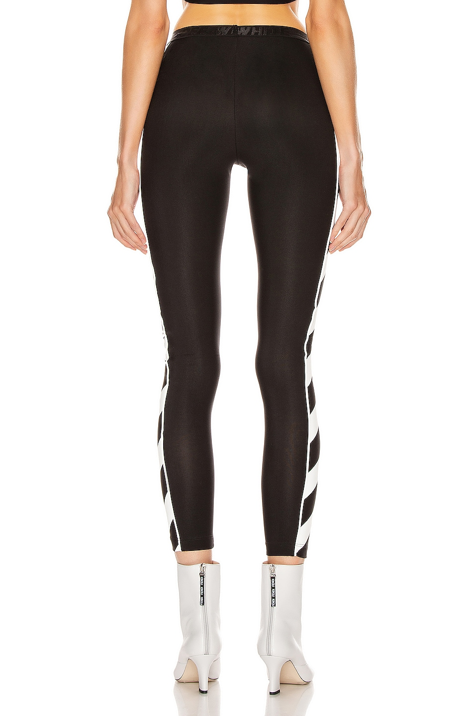 Image 4 of OFF-WHITE Diagonal Athletic Legging in Black & White
